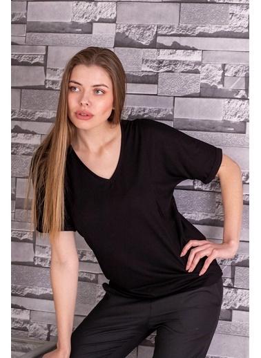 Stamina  Bayan V Yaka Kısa Kıol Geniş Bluz-5VS04 Siyah